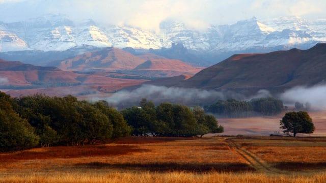 penwarn farm drakensberg snow-capped mountains kzn